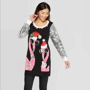 Sweaters - Long Sleeve Flamingo Tunic Holiday Sweater